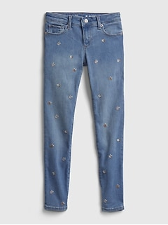 Kids Embroided Floral Skinny Jeans with Washwell ™