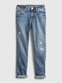 Kids Distressed Girlfriend Jeans with Washwell™