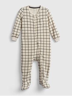 Une-pièce à pieds avec glissière à l'avant en tricot soyeux pour Bébé