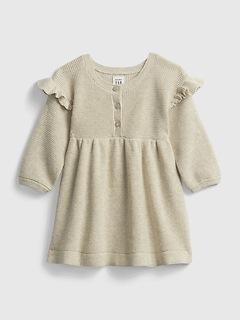 Robe en tricot gaufré à volants pour Bébé