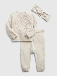 Ensemble pantalon et chandail en tricot pointelle pour Bébé