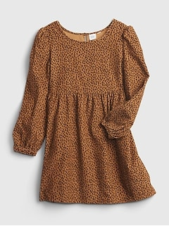 Kids Corduroy Print Babydoll Dress
