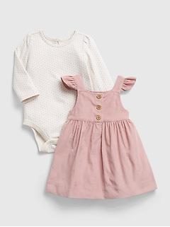 Ensemble robe en velours côtelé 100% coton biologique pour Bébé