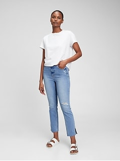 Sky High Rise Distressed Vintage Slim Jeans with Washwell™