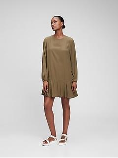 LENZING™ ECOVERO™ Flounce Hem Dress