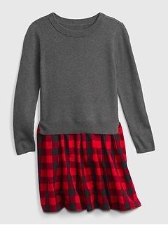 Kids Buffalo Plaid Ribbed Sweater Dress