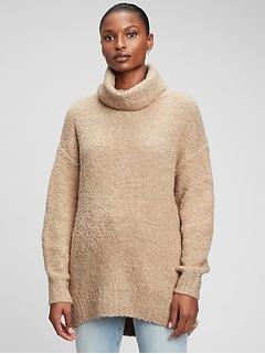 Cozy Boucle Turtleneck Tunic Sweater