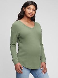 Maternity Waffle-Knit Tunic T-Shirt