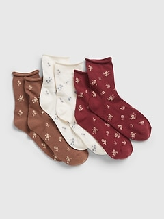 Kids Floral Print Crew Socks (3-Pack)