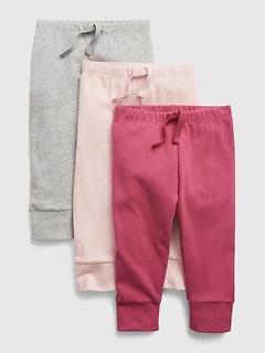Pantalon 100% coton biologique à enfiler pour Bébé (paquet de3)
