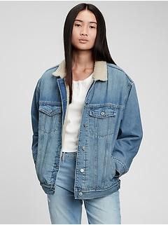 Teen Oversized Denim Sherpa Jacket