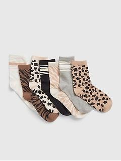 Kids Animal Print Crew Socks (7-Pack)