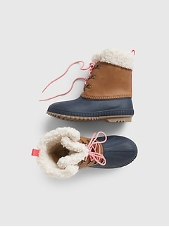 Kids Lace Up Duck Boots