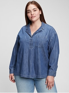 100% Organic Cotton Denim Popover Shirt
