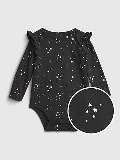 Baby 100% Organic Cotton Mix and Match Print Ruffle Sleeve Bodysuit