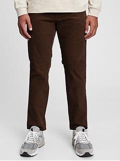 Corduroy Slim Straight Pants with Washwell™