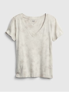 100% Organic Cotton Vintage Tie-Dye V-Neck T-Shirt